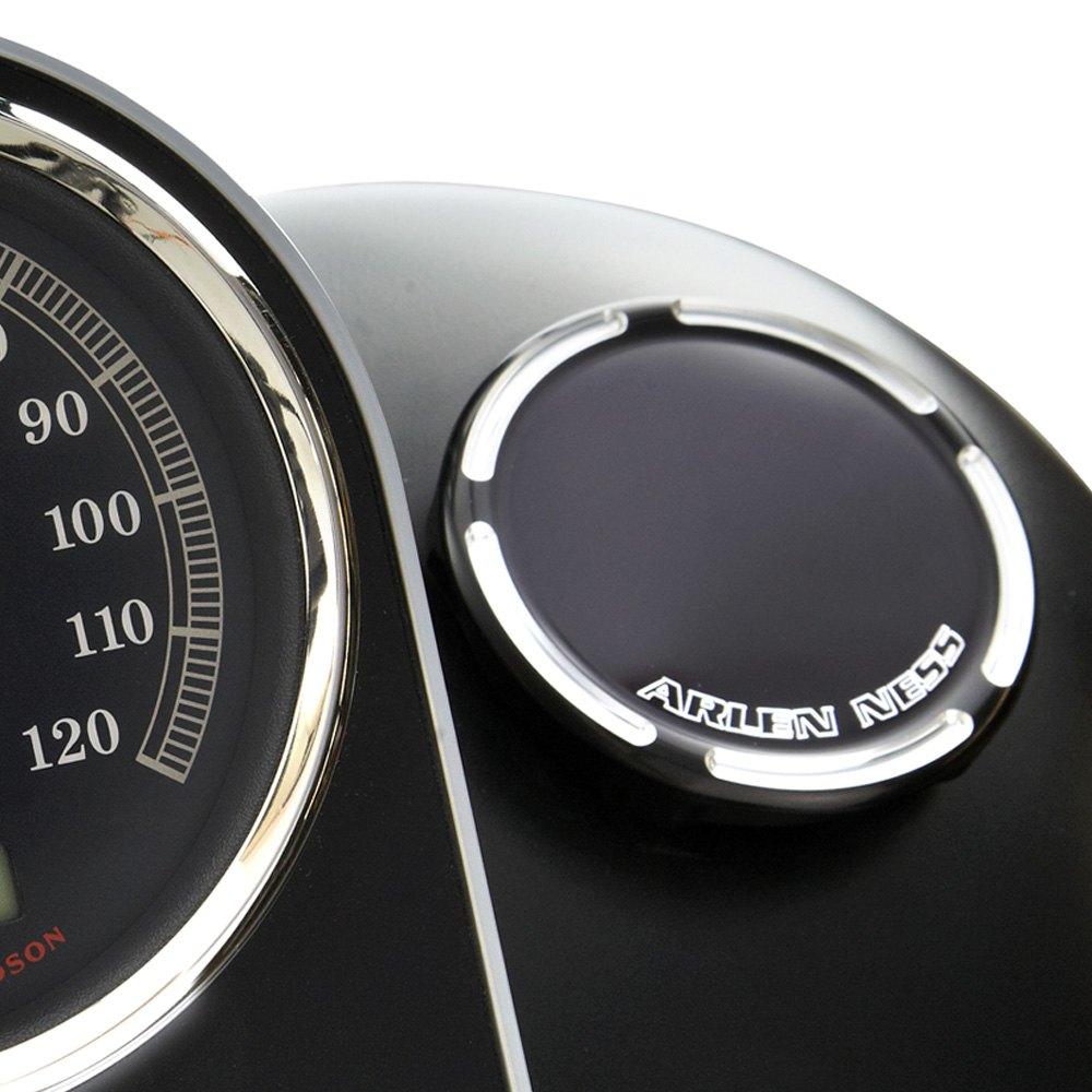 Arlen Ness 70-004 Black Billet Gas Cap//LED Fuel Gauge Cap