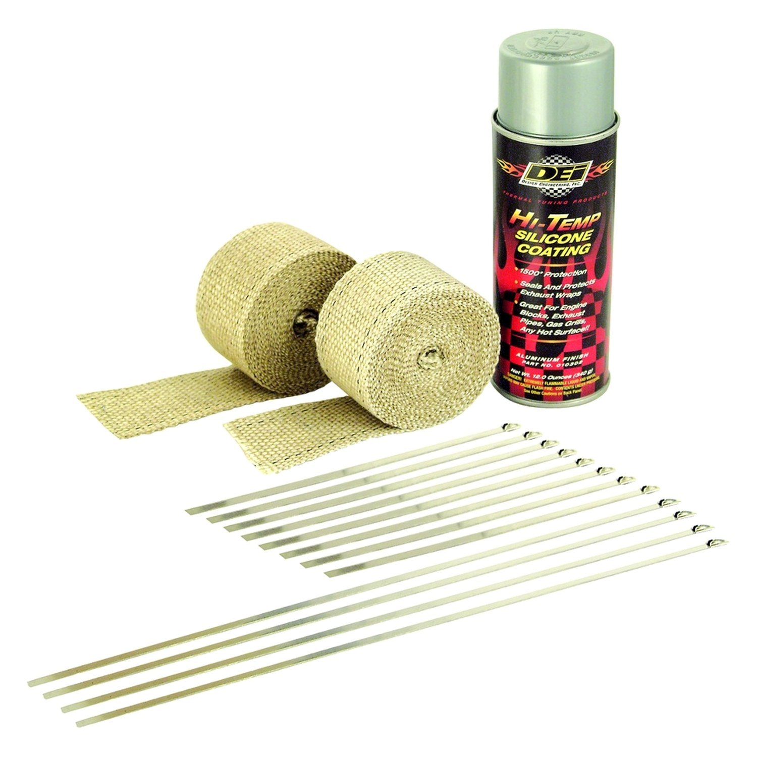 Design Engineering® 010331 - Tan Motorcycle Exhaust Pipe Wrap Kit with  Aluminum HT Silicone Coating Spray