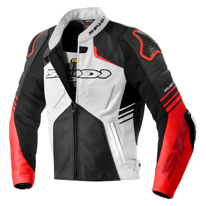 Spidi Bolide Motorcycle Leather Jacket Black//White//Neon Yellow 46