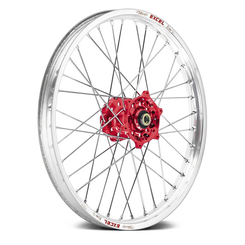 talon 56 3000rs front wheel with red hub and silver excel