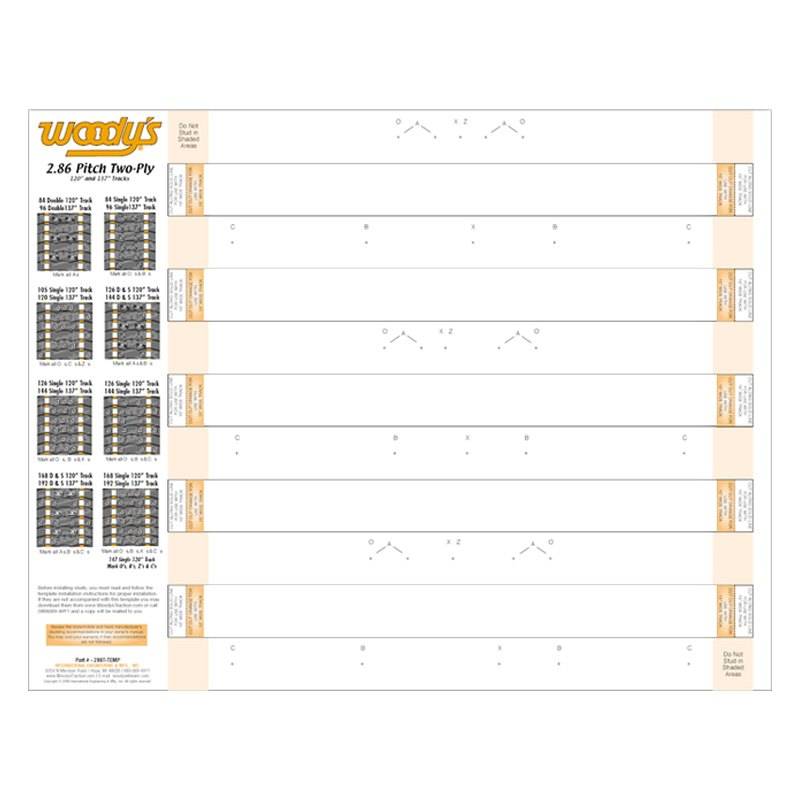 Woody's® 286TTEMP - Dual Ply Snowmobile Tracks Template