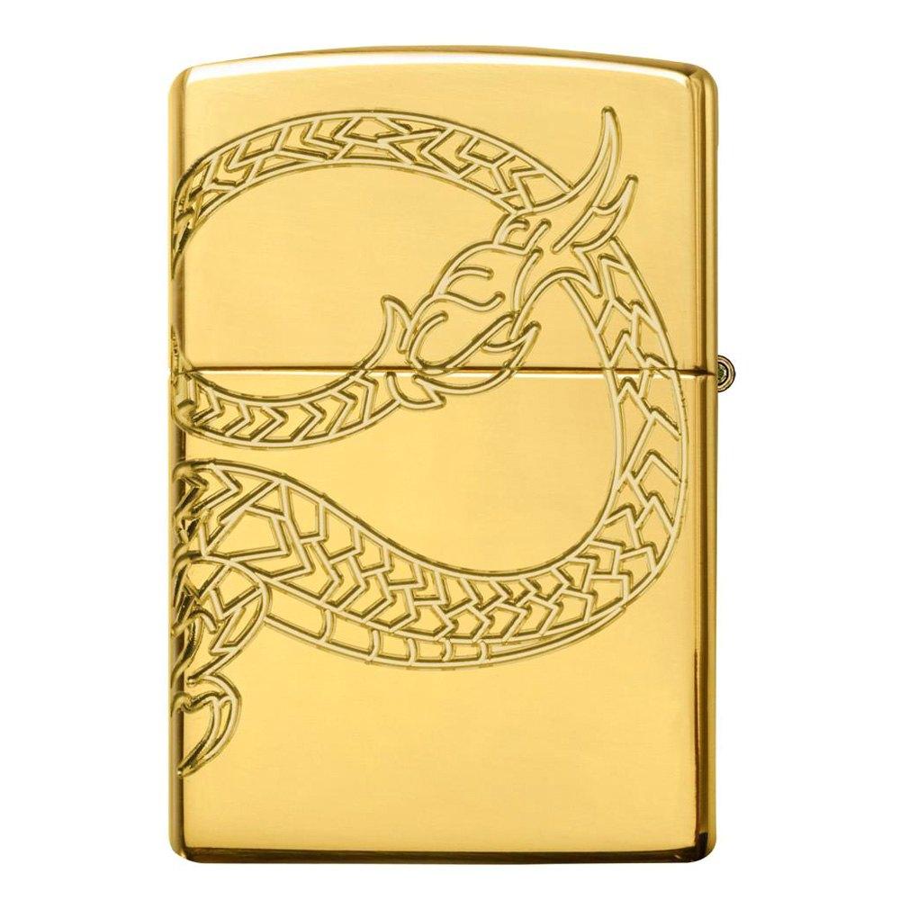Zippo Asian Dragon High Polish Gold Plate Lighter